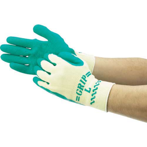 【まとめ買い】ショーワ 天然ゴム背抜き手袋 まとめ買い 簡易包装グリップ(ソフトタイプ) 10双入 グリーン Sサイズ NO310-S10P