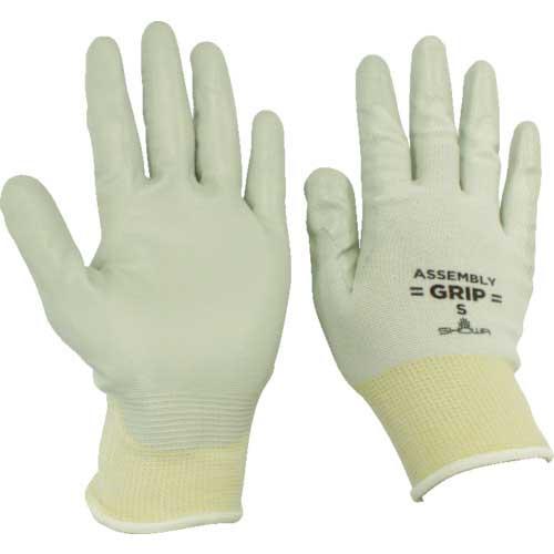 【まとめ買い】ショーワ ニトリルゴム背抜き手袋 簡易包装組立グリップ グレー Sサイズ NO370-S10P【10双入り】
